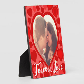 Cute red hearts framed picture plaque