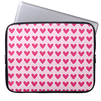 Cute Red Hearts Pattern Pink Valentine's Day Gifts Laptop Sleeve