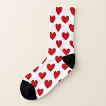 Cute Red Hearts Pattern Socks