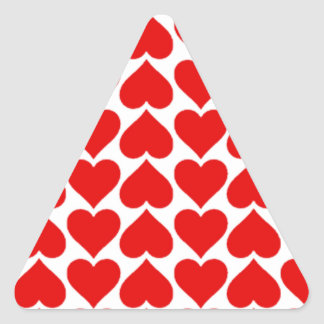 Cute Red Hearts Triangle Sticker