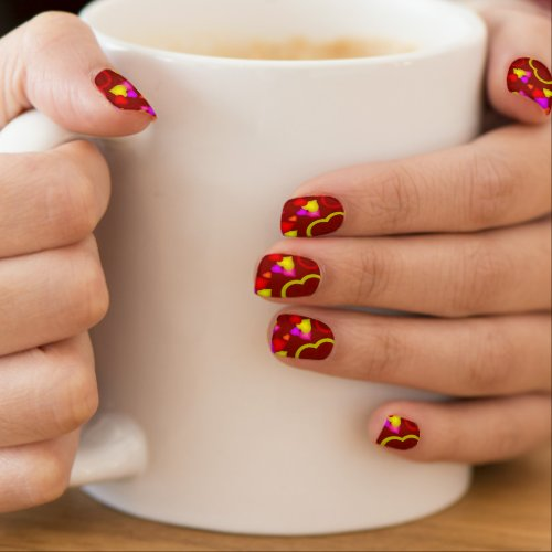 Cute Red Hearts Valentines Day Minx Nail Wraps