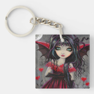 Cute Red Hearts Vampire Fairy Keychain
