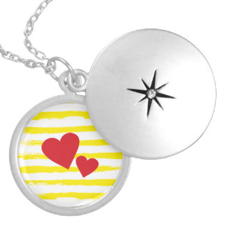 Cute Red Hearts Yellow STRIPES Brushstrokes Locket Necklace