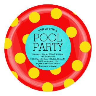 Cute Red Inner Tube Floatie Summer Pool Party Card