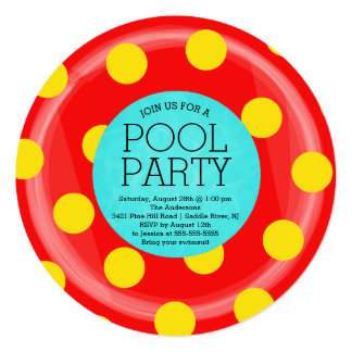 Cute Red Inner Tube Floatie Summer Pool Party 5.25x5.25 Square Paper Invitation Card