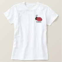 Cute Red Lady Bug Personalized Embroidered Shirt