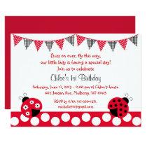 Cute Red Ladybug 1st Birthday Card
