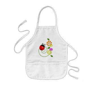 Cute Red Ladybug & Cute Flowers craft - Kids' Apron