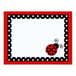 Cute Red Ladybug Flat Thank You Note Cards Personalized Invite