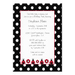 Cute red ladybug flowers birthday party invitation