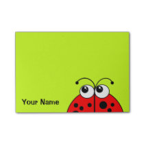 Cute Red Ladybug on Green Personalized Post-it Notes