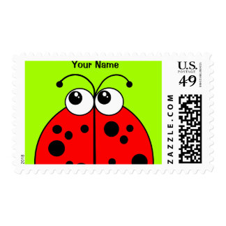 Cute Red Ladybug on Green Personalized Stamp