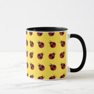 Cute Red Ladybug on Yellow Background Pattern Mug