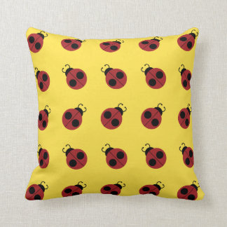 Cute Red Ladybug on Yellow Background Pattern Throw Pillows