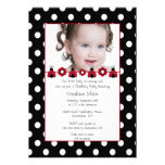 Cute red ladybug photo birthday party invitation