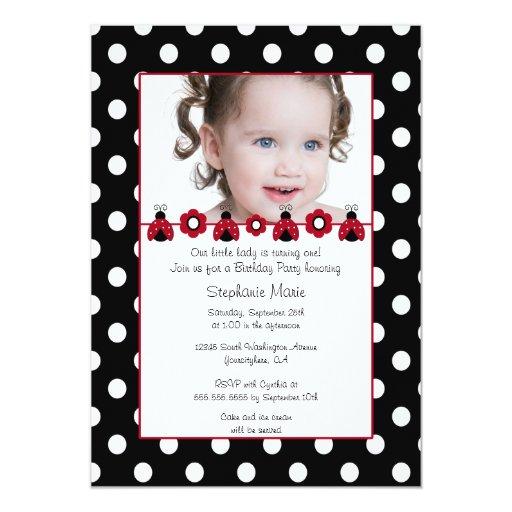 Cute red ladybug photo birthday party invitation
