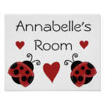 Cute Red Ladybug Poster/Print Name Sign