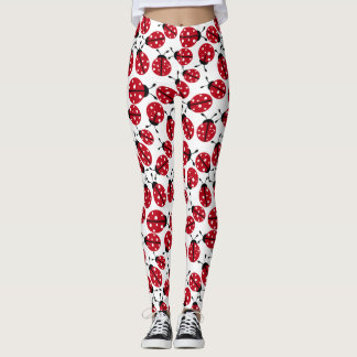 Cute Red Ladybugs Pattern Leggings