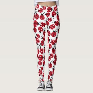 Cute Red Ladybugs Pattern Leggings