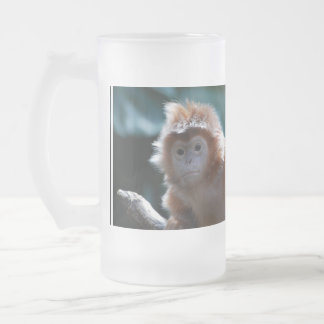 Cute Red Langur Monkey Frosted Beer Mug