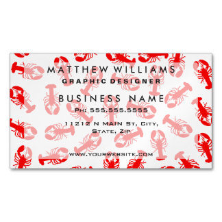 Cute Red Lobster Animal Pattern Magnetic Business Card