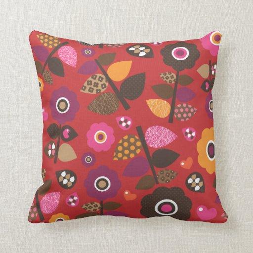 Cute red love flower retro pattern throw pillows