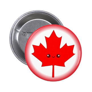 Cute Red Maple Leaf Button