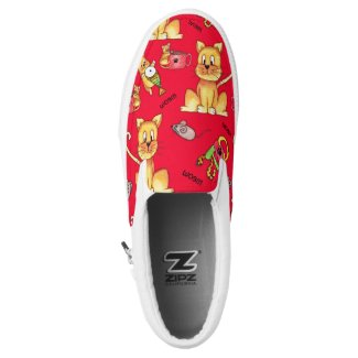 Cute Red Meow Cats Mischievous Kittens Slip-On Sneakers