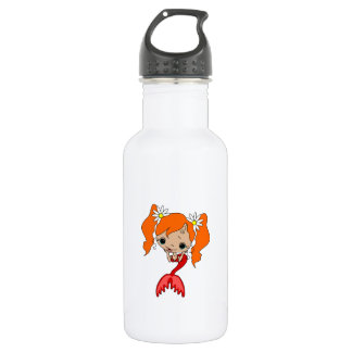 Cute Red Mermaid 3 Water Bottle