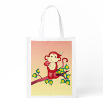 Cute Red Monkey Animal Reusable Grocery Bag