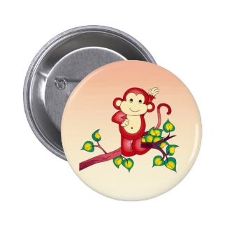 Cute Red Monkey Button