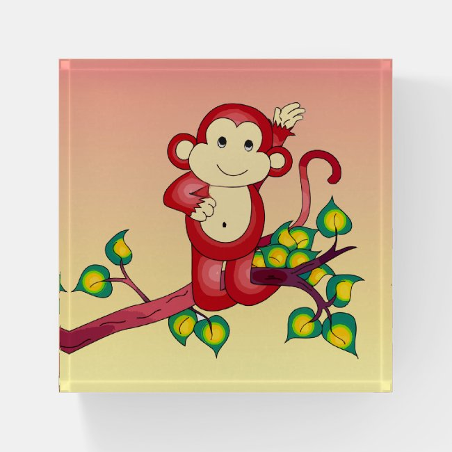 Cute Red Monkey Glass Paperweight