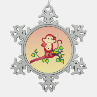 Cute Red Monkey Pewter Snowflake Ornament at Zazzle