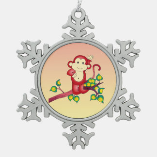 Cute Red Monkey Pewter Snowflake Ornament