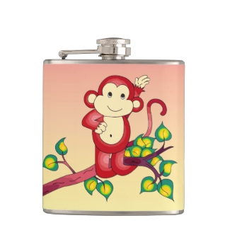 Cute Red Monkey with Orange and Yellow Flask