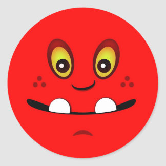Cute Red Monster Face w/ an Underbite Classic Round Sticker