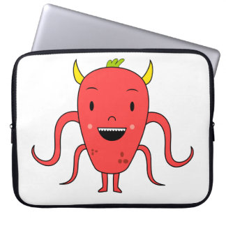 Cute red monster laptop sleeve