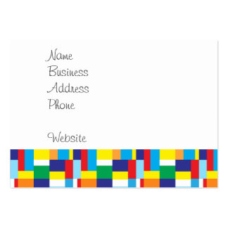 Cute Red Monster on Colorful Patchwork Blocks Business Card Template