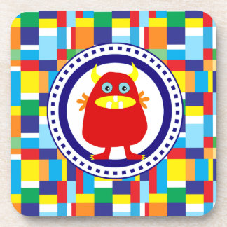 Cute Red Monster on Colorful Patchwork Blocks Drink Coaster
