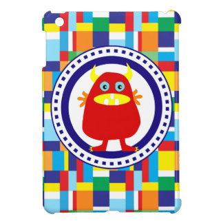 Cute Red Monster on Colorful Patchwork Blocks iPad Mini Case