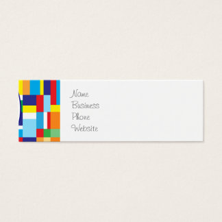 Cute Red Monster on Colorful Patchwork Blocks Mini Business Card