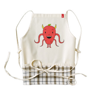 Cute red monster zazzle HEART apron