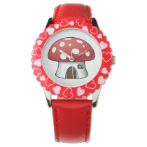 cute red mushroom fun kids design watch