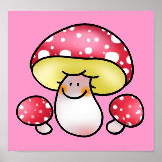 cute red mushrooms poster
