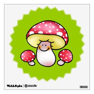cute red mushrooms wall sticker