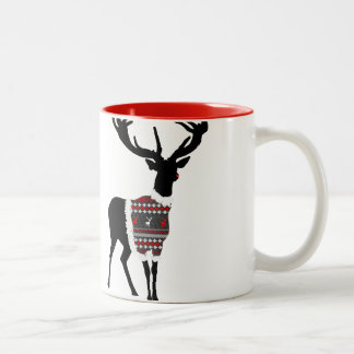 Cute Red Nosed Reindeer Christmas Themed Two-Tone Coffee Mug