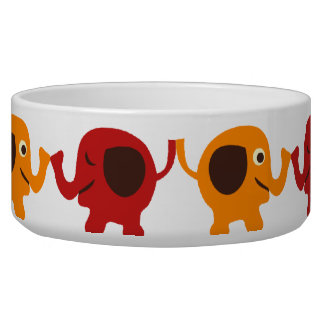 Cute Red Orange Elephant Friends Holding Trunks Bowl