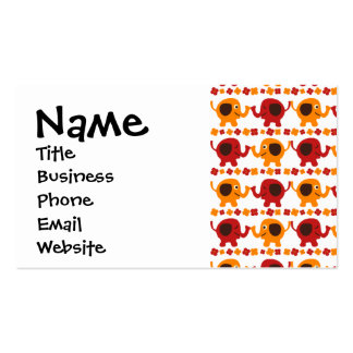Cute Red Orange Elephant Friends Holding Trunks Business Card Templates