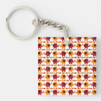 Cute Red Orange Elephant Friends Holding Trunks Key Chains