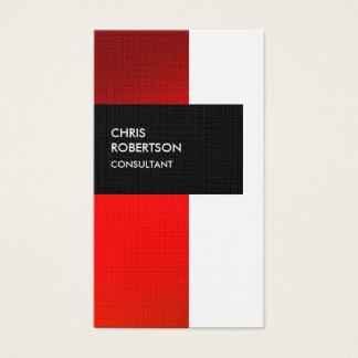 Cute Red Orange Stripe Linen Clean Business Card
